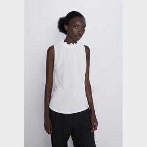 NWOT Zara White Gathered High Neck Top Blouse M